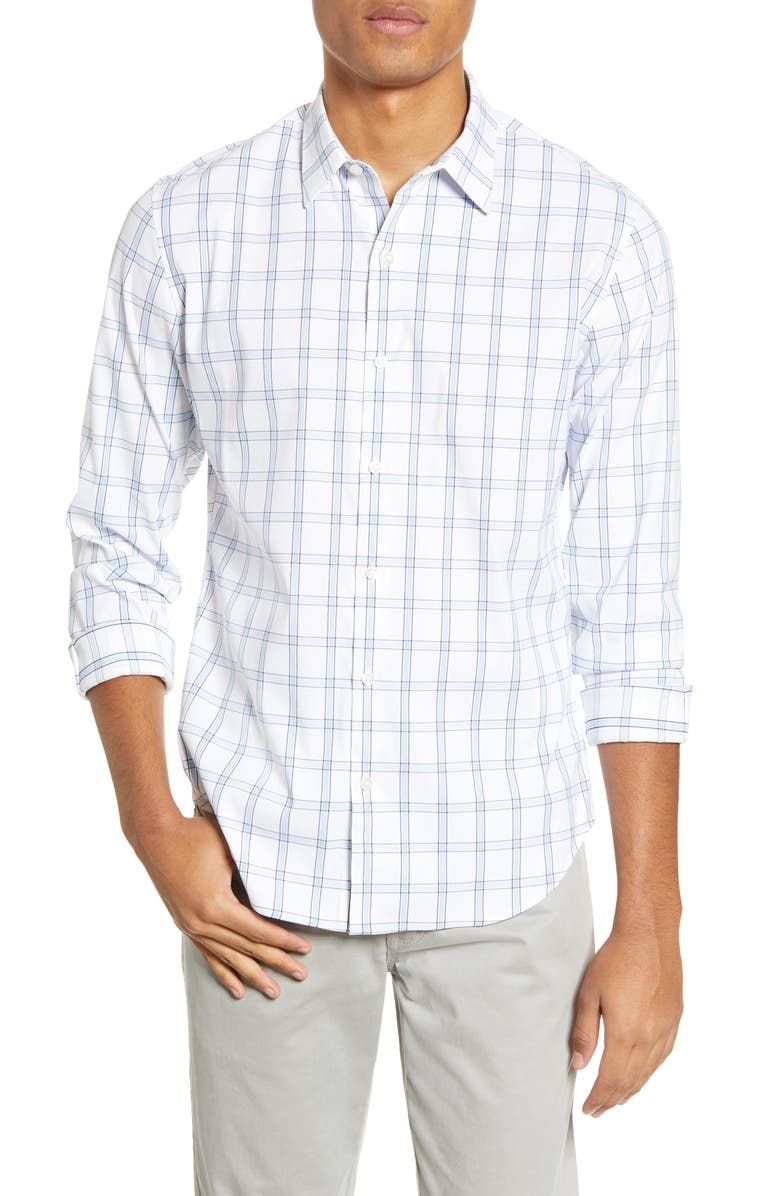 BONOBOS Slim Fit Plaid Button-Up Performance Shirt, Main, color, HUGH PLAID CANNES