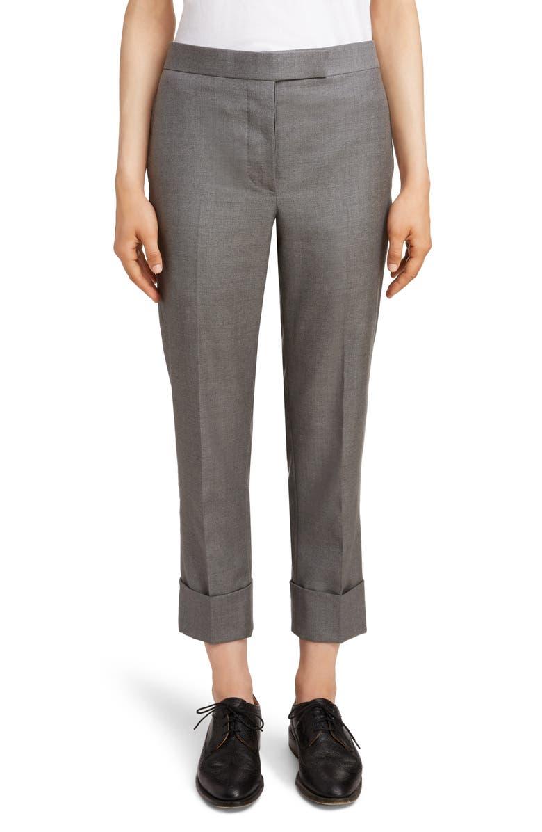 THOM BROWNE Twill Cuffed Pants, Main, color, DARK GREY