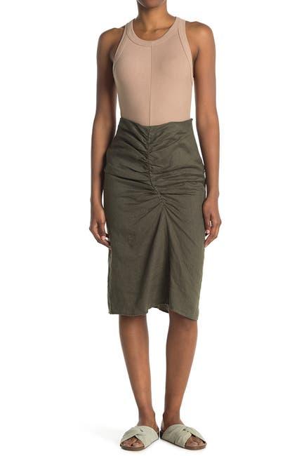 Image of Stateside Linen Ruched Front Slit Skirt