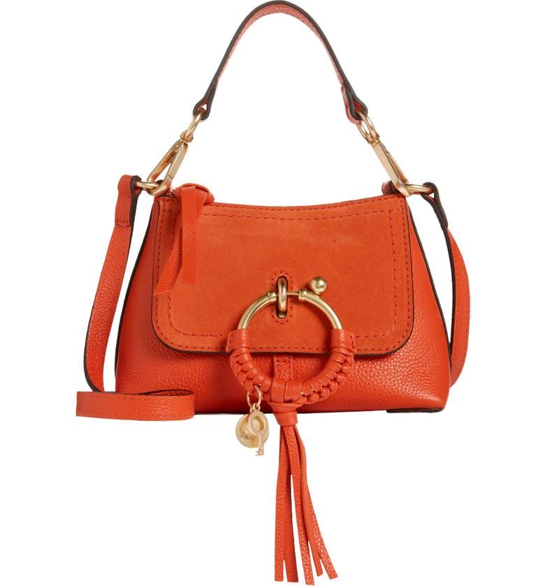 SEE BY CHLOÉ Mini Joan Leather Crossbody Bag, Main, color, LOVING ORANGE