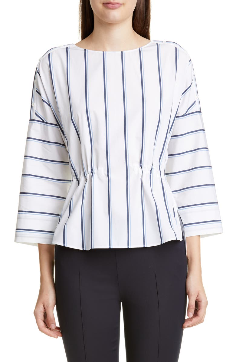 AKRIS PUNTO Stripe Poplin Blouse, Main, color, 100