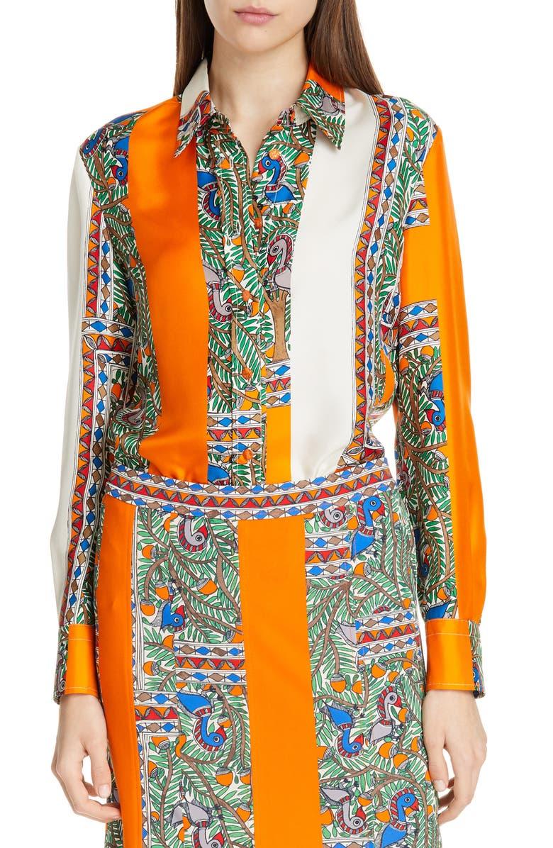 TORY BURCH Printed Silk Shirt, Main, color, 820