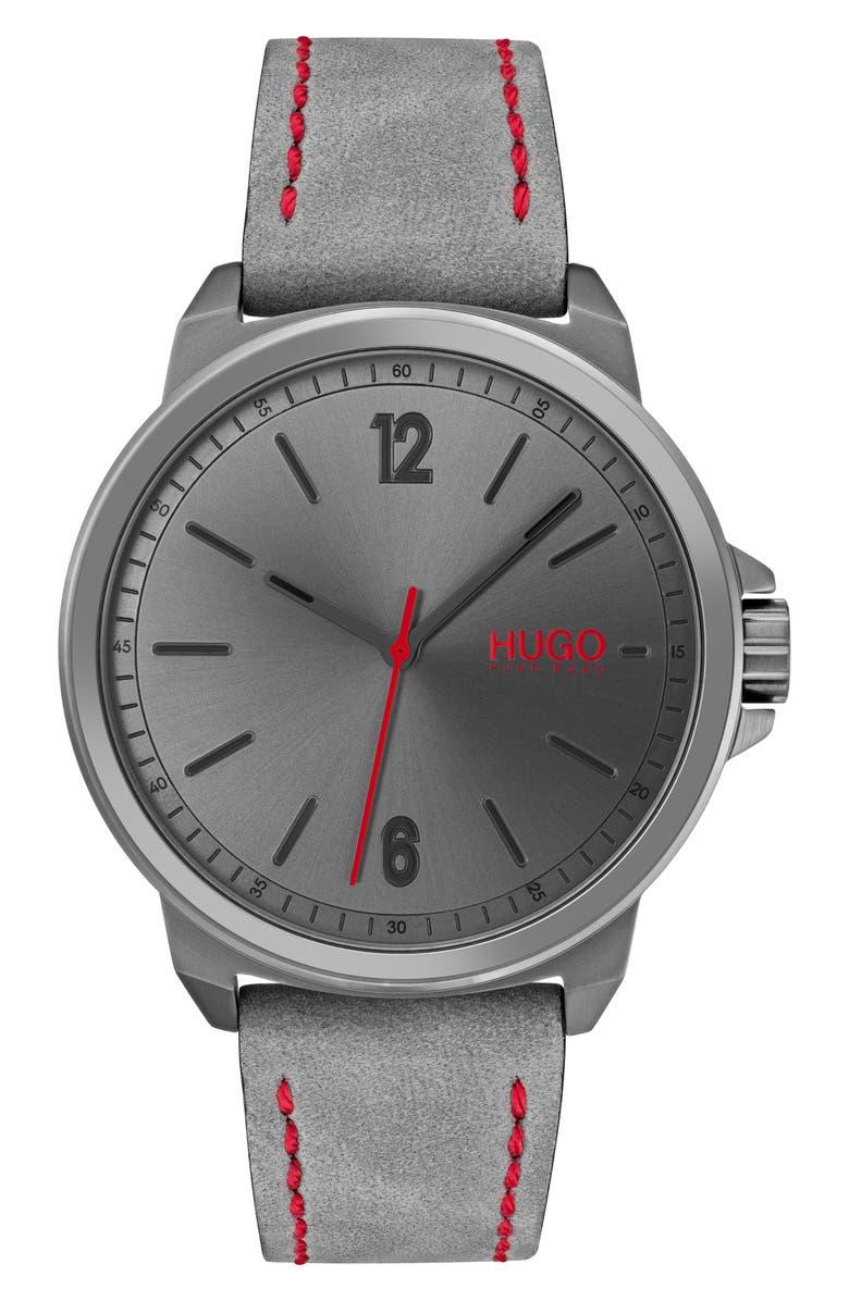 HUGO Lead Nubuck Leather Strap Watch, 42mm, Main, color, 030