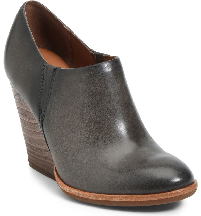 KORK-EASE<SUP>®</SUP> Leav Demi Wedge Bootie, Main, color, GREY LEATHER