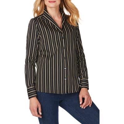 Foxcroft Gracey Festive Stripe No-Iron Stretch Shirt, Brown