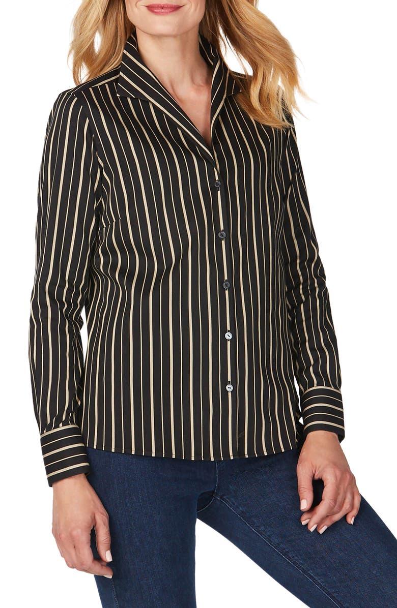 FOXCROFT Gracey Festive Stripe No-Iron Stretch Shirt, Main, color, BISCOTTI