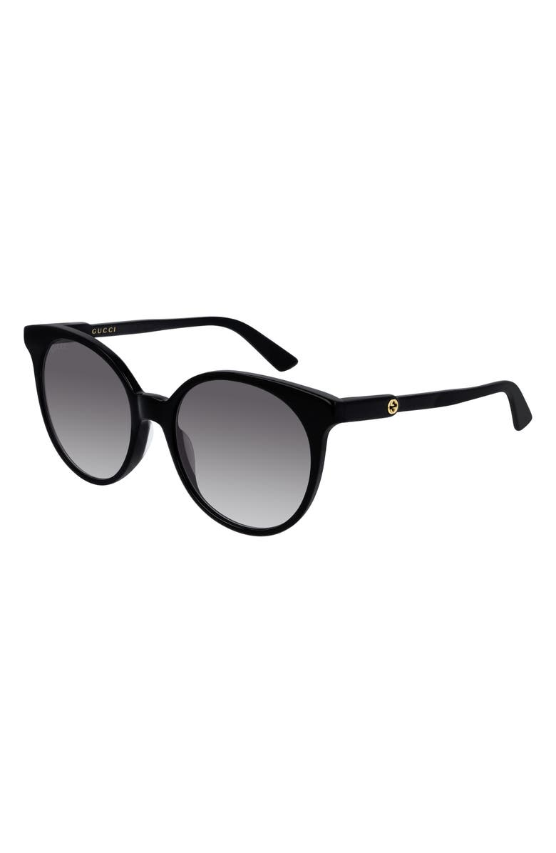 GUCCI 54mm Round Sunglasses, Main, color, SHINY BLACK/ GREY SOLID
