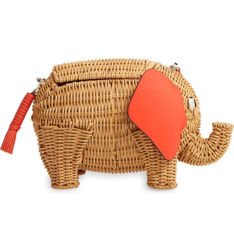 KATE SPADE NEW YORK tiny wicker elephant crossbody bag, Main, color, TAMARILLO