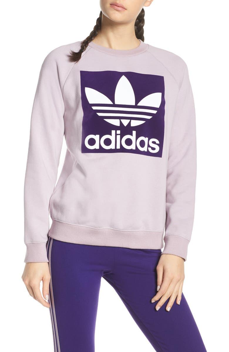 ADIDAS ORIGINALS Trefoil Graphic Sweatshirt, Main, color, 335