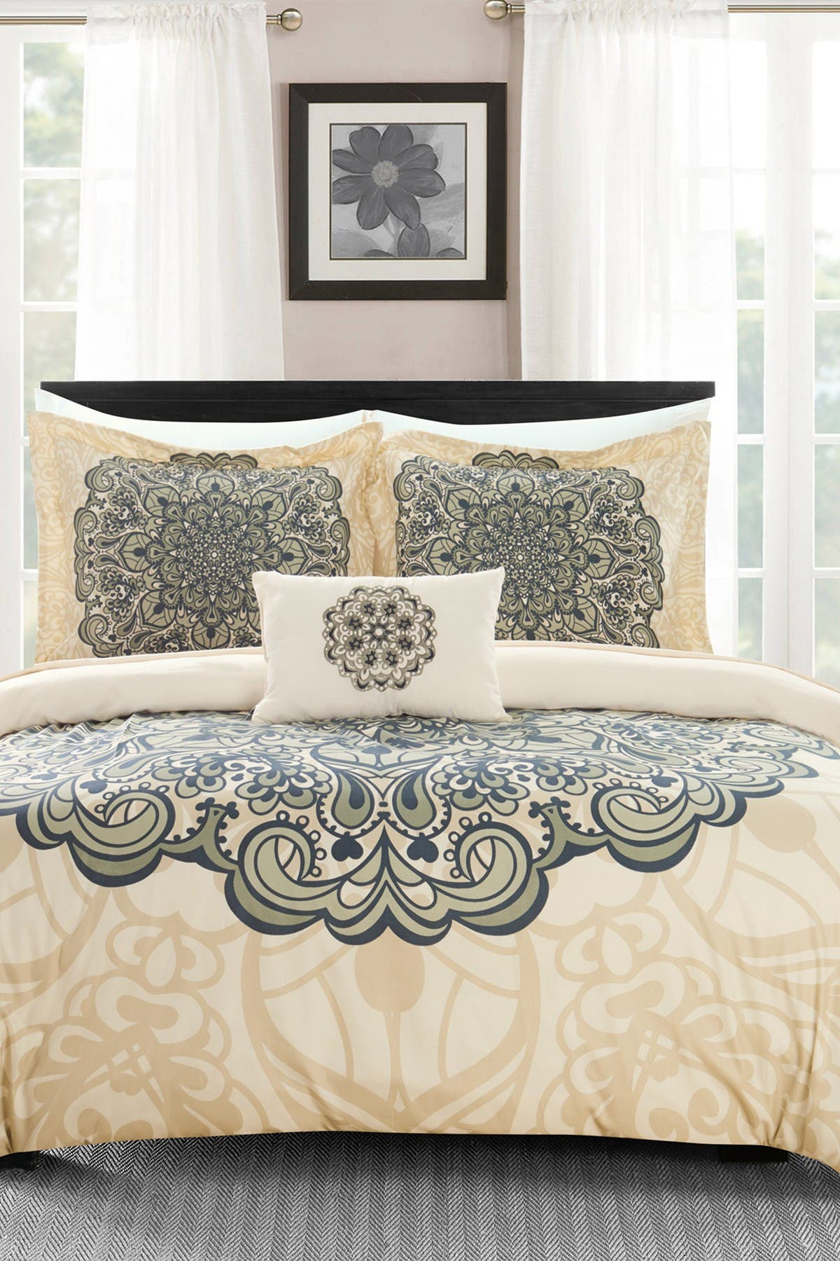 Chic Home Bedding Queen Carlie Reversible Boho Inspired Large Scale Medallion Print Design Duvet Cover 4 Piece Set Beige Nordstrom Rack
