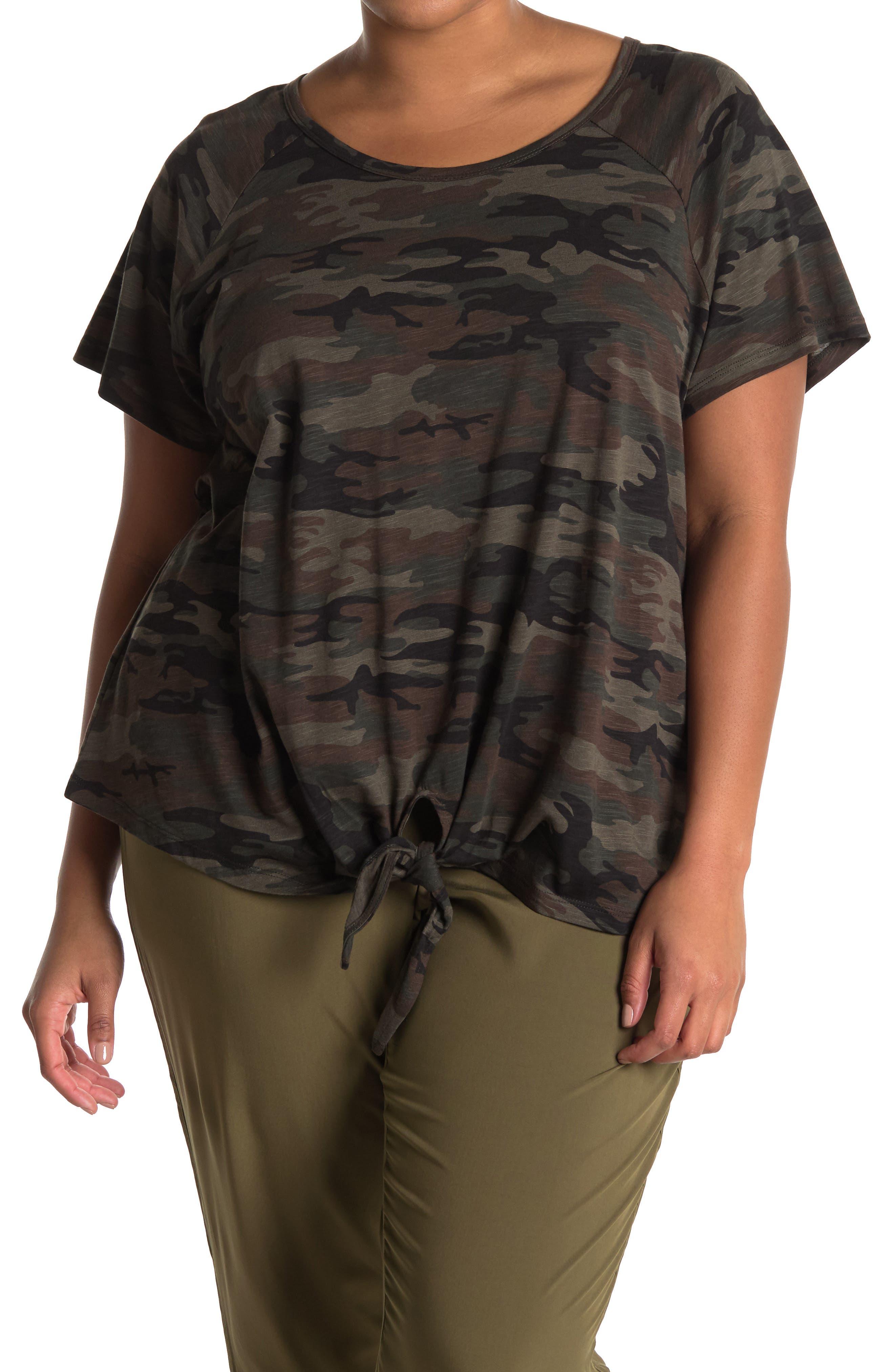 Image of Sanctuary Camo Print Tie Hem T-Shirt