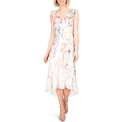 Komarov Chiffon & Charmeuse High/low Dress, Ivory