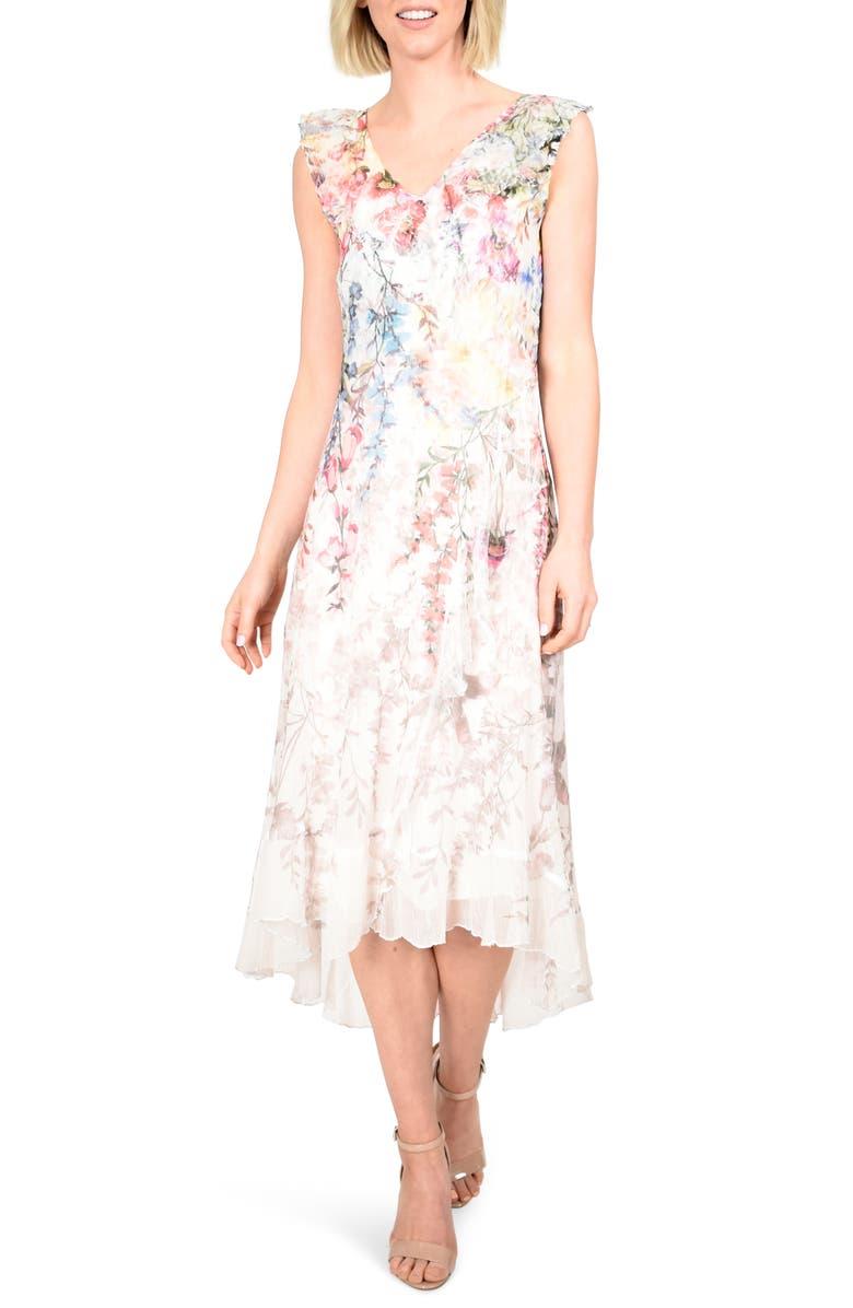 KOMAROV Chiffon & Charmeuse High/Low Dress, Main, color, 900