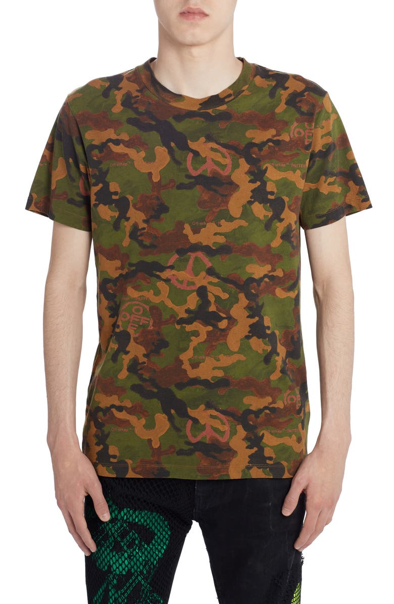 OFF-WHITE Camouflage Short Sleeve Slim T-Shirt, Main, color, BLACK
