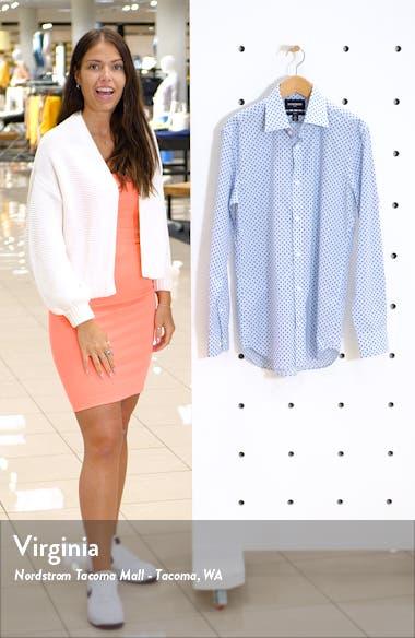 Slim Fit Stretch Palm Print Dress Shirt, sales video thumbnail