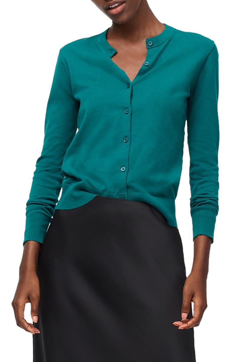 J.CREW Jackie Cotton Blend Cardigan, Main, color, SPICY JADE