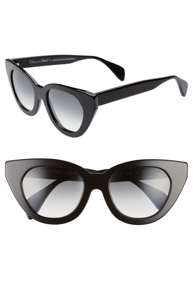 OSCAR DE LA RENTA X MORGENTHAL FREDERICS Holly 54mm Cat Eye Sunglasses, Main, color, BLACK