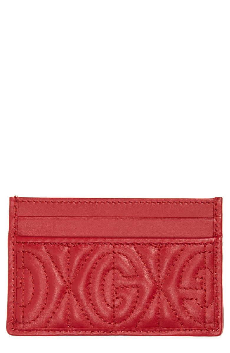 GUCCI GG Rhombus Quilted Leather Card Case, Main, color, RED