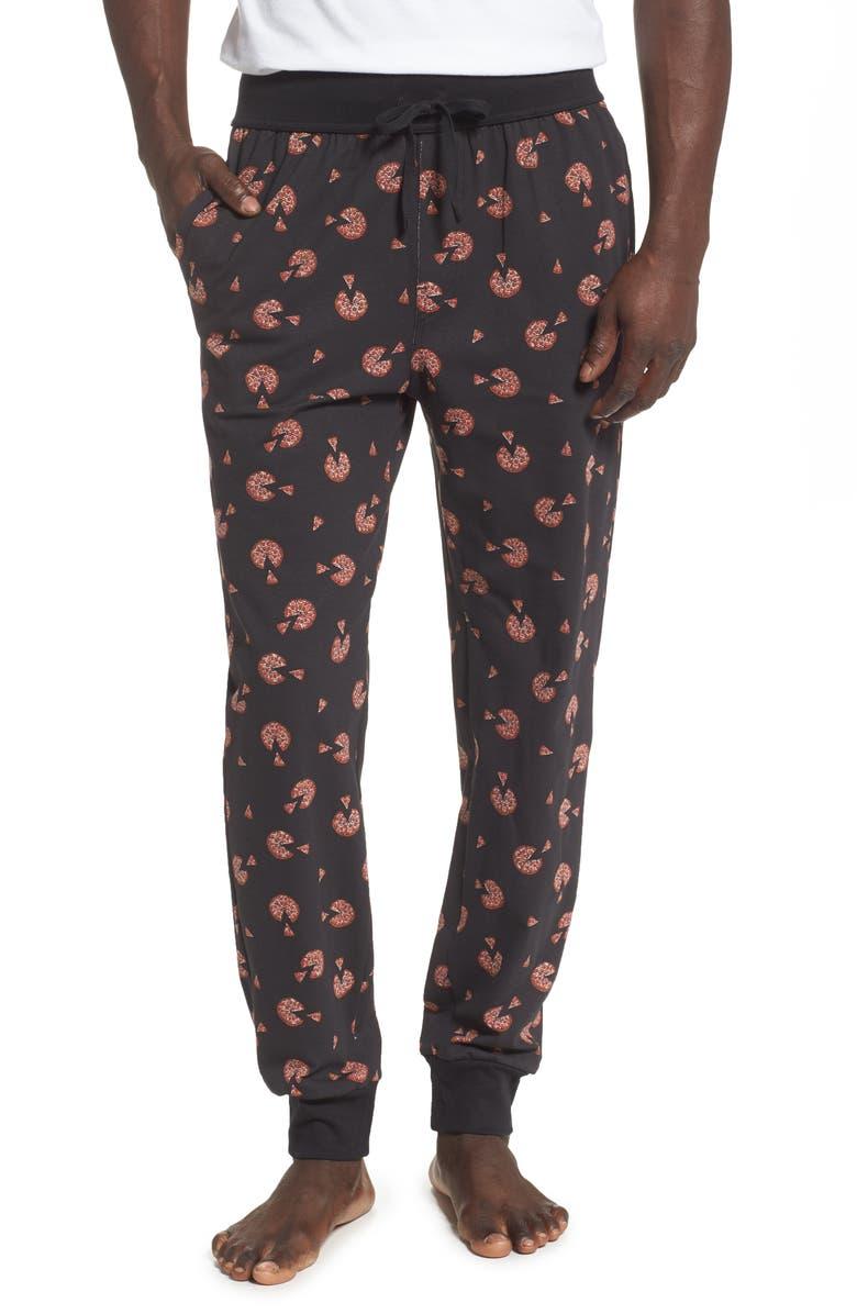 NORDSTROM MEN'S SHOP Print Jogger Pants, Main, color, BLACK PIZZA SLICES