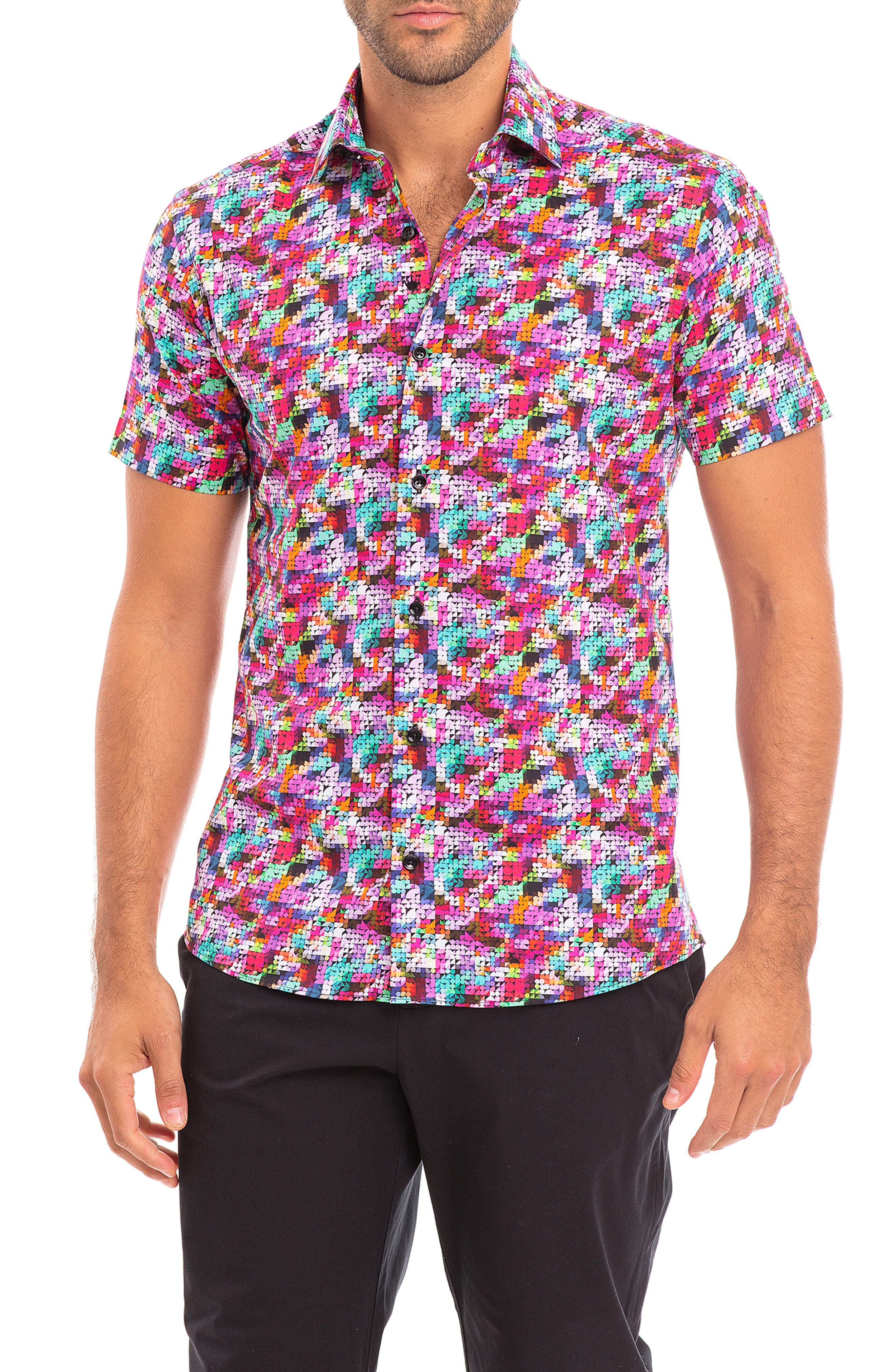 Mono Slim Fit Geometric Short Sleeve Button-Up Shirt