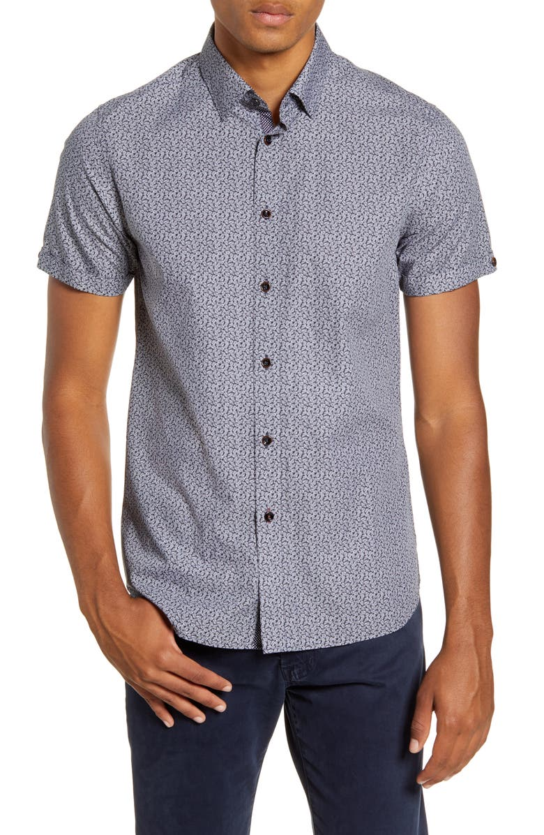 TED BAKER LONDON Daffodil Slim Fit Leaf Print Button-Up Short Sleeve Sport Shirt, Main, color, 001