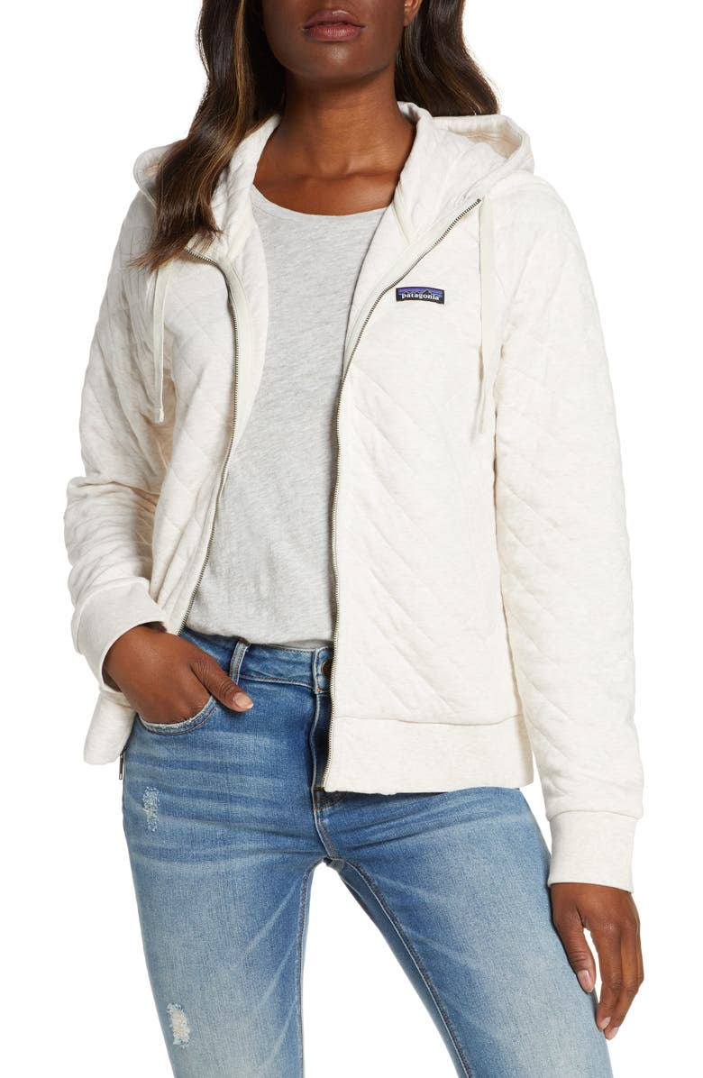 PATAGONIA Organic Cotton Blend Quilted Hoodie, Main, color, DYNO WHITE