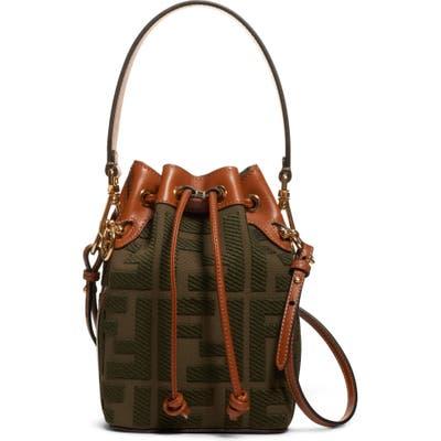 Fendi Mini Mon Tresor Logo Canvas Bucket Bag - Green