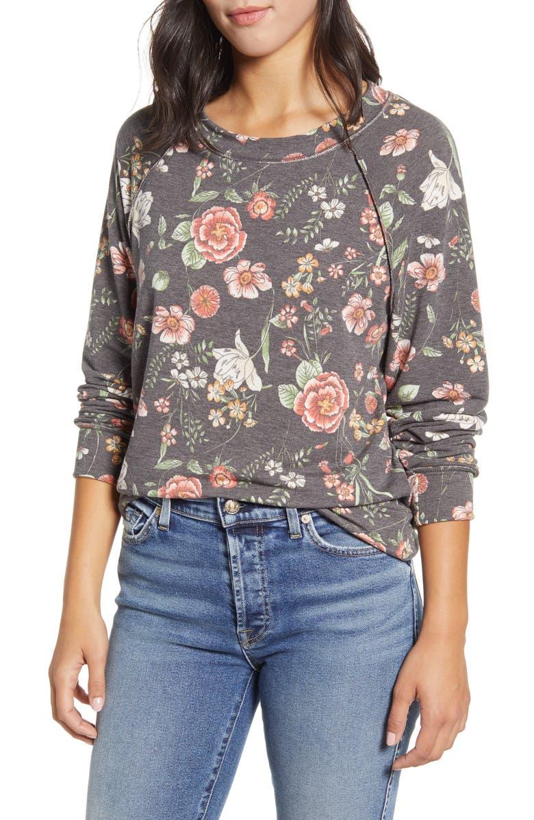 CASLON<SUP>®</SUP> Cozy Floral Print Sweatshirt, Main, color, GRAY- RED VINE FLORAL