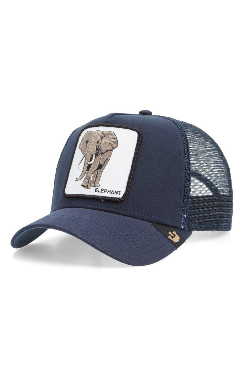 GOORIN BROS. Elephant Trucker Hat, Main, color, NAVY