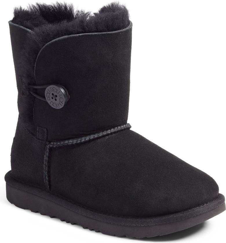 UGG<SUP>®</SUP> Bailey Button II Water Resistant Genuine Shearling Boot, Main, color, BLACK SUEDE