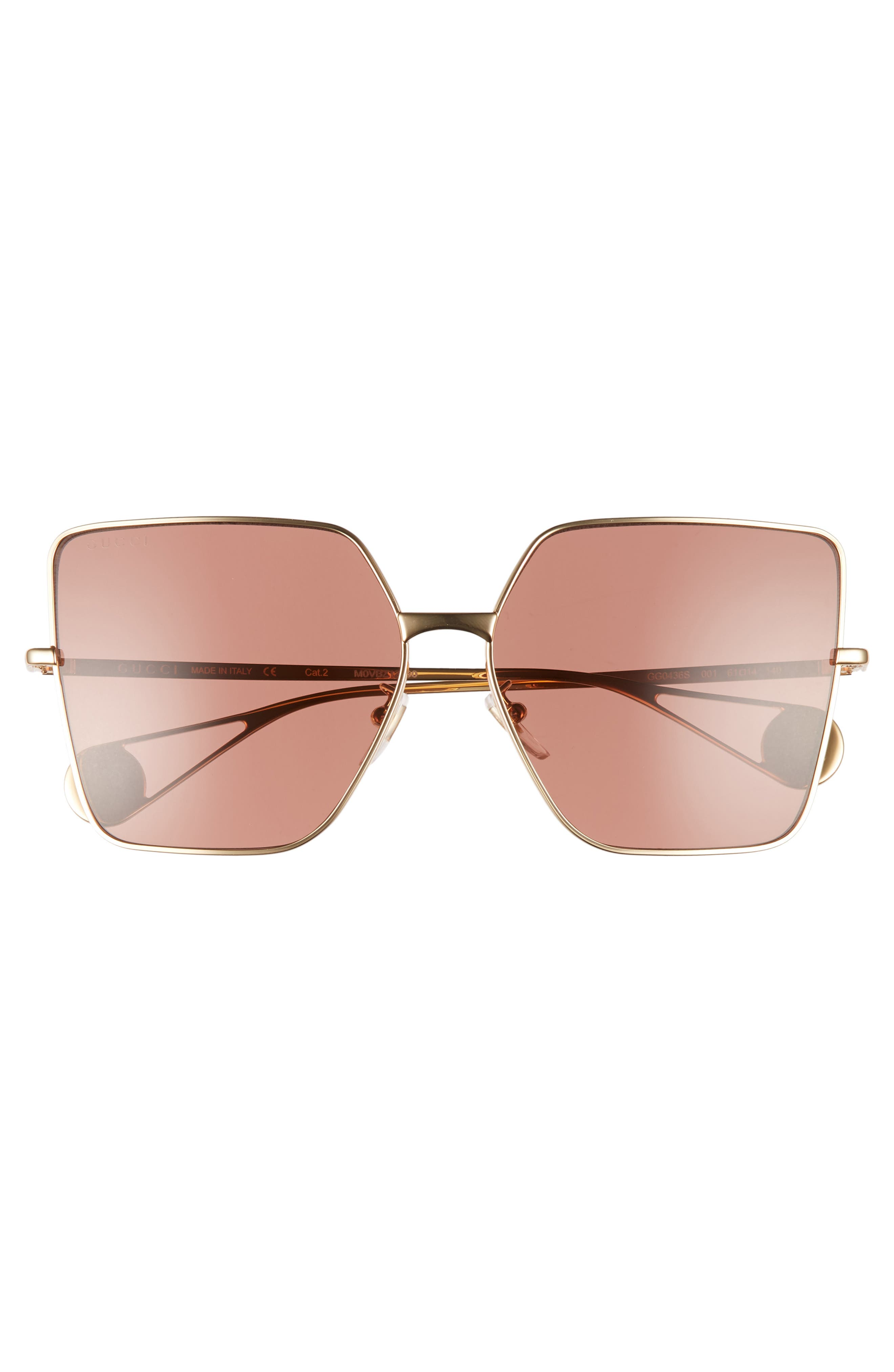 ,                             61mm Square Sunglasses,                             Alternate thumbnail 3, color,                             GOLD/ RED BRICK