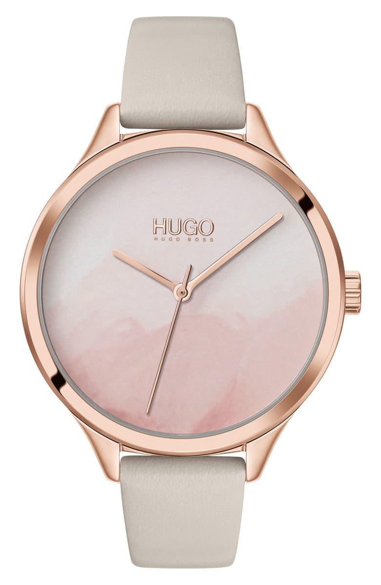 HUGO Smash Leather Strap Watch, 36mm, Main, color, GREY/ CARNATION GOLD