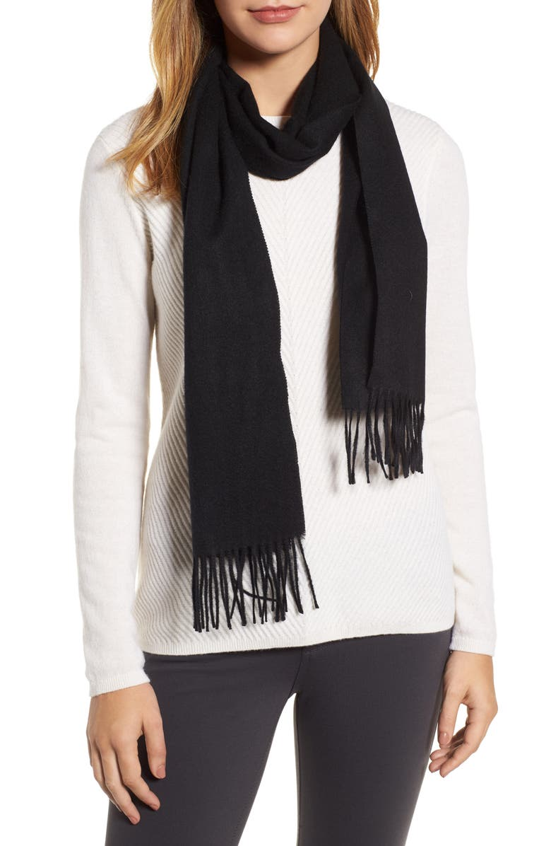 NORDSTROM Solid Woven Cashmere Scarf, Main, color, 001