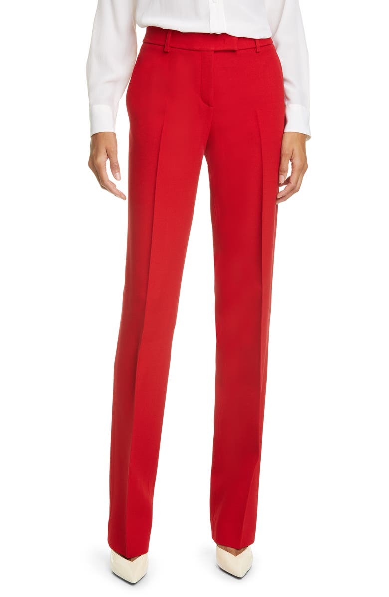 MICHAEL KORS COLLECTION Crepe Straight Leg Trousers, Main, color, CRIMSON