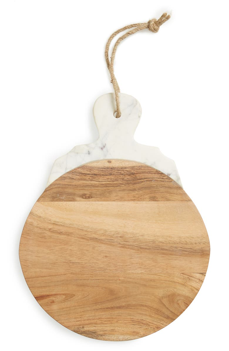NORDSTROM AT HOME Lavender Marble & Wood Round Tray, Main, color, 200