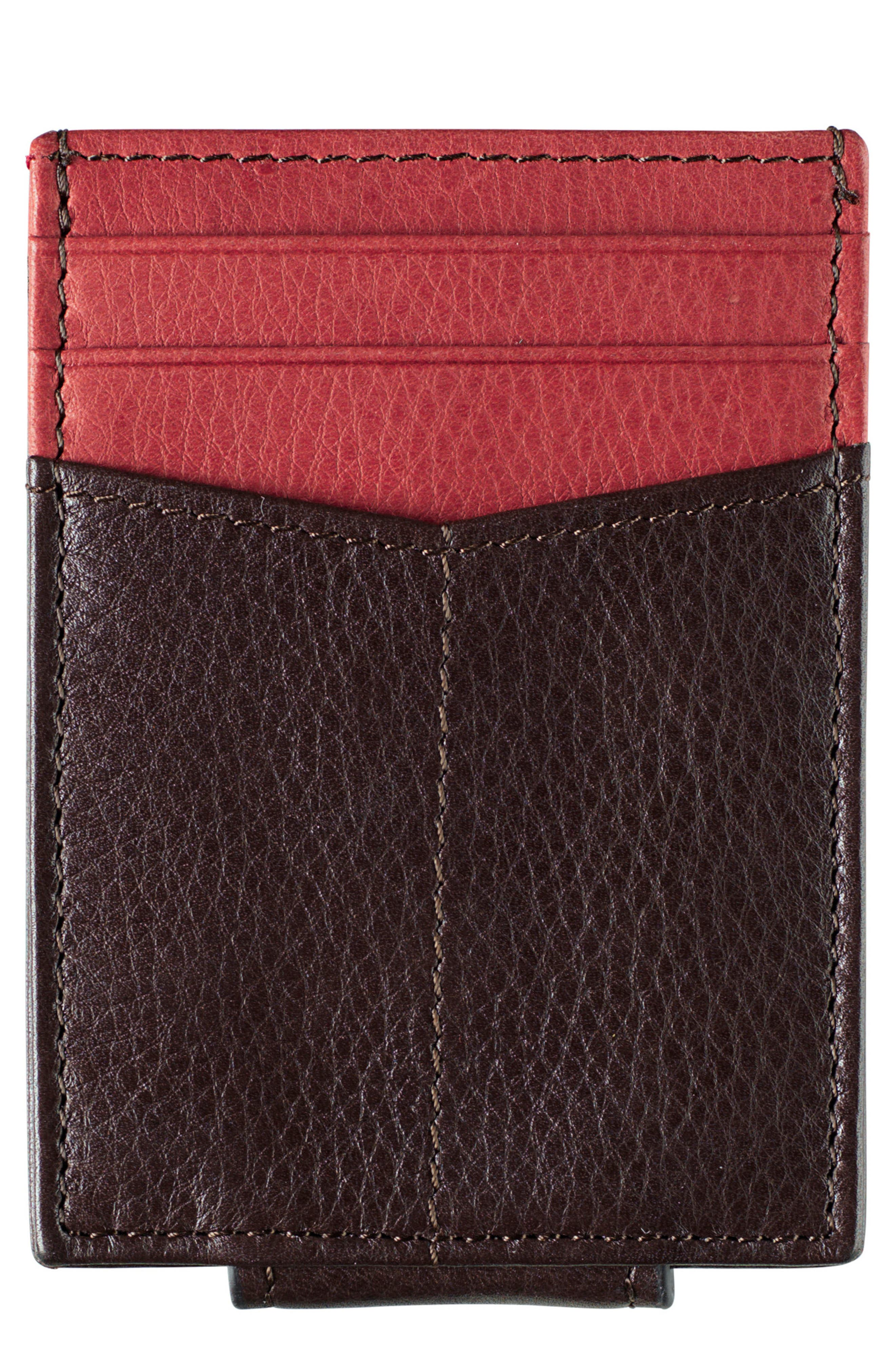 A slim, minimalist leather card case features a thumb-slide ID window on one side and a pair of card pockets on the other, along with a central multipurpose compartment for stashing receipts and cash. Style Name: Johnston & Murphy Leather Money Clip Card Case. Style Number: 5170549. Available in stores.
