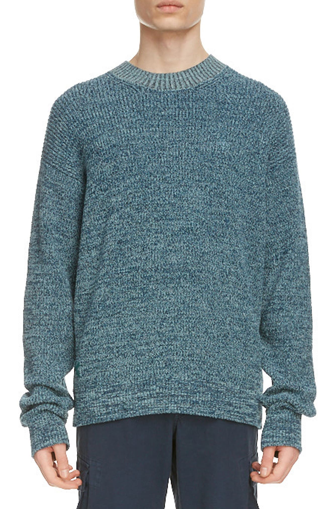 Dropped shoulders and puddled sleeves exaggerate the relaxed, slouchy profile of a sweater knit for comfort from a chunky cotton blend. Style Name: Kenzo Oversize Crewneck Sweater. Style Number: 6065795. Available in stores.