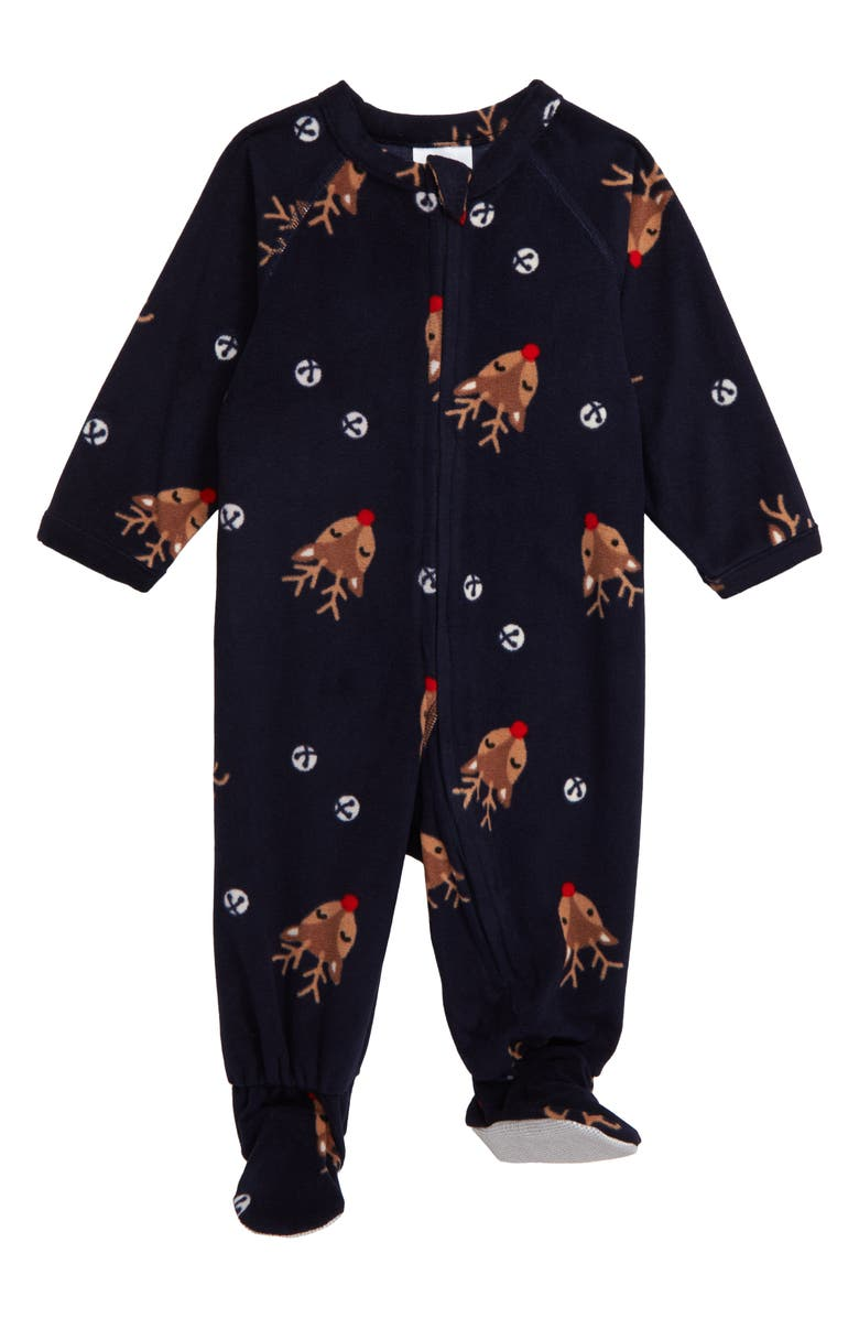 NORDSTROM Festive One-Piece Footie Pajamas, Main, color, NAVY PEACOAT HOLIDAY FESTIVE