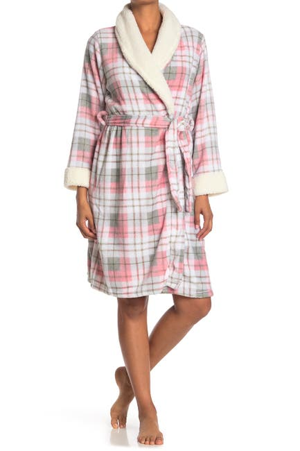 Image of Kathy Ireland Plaid Faux Fur Trimmed Robe