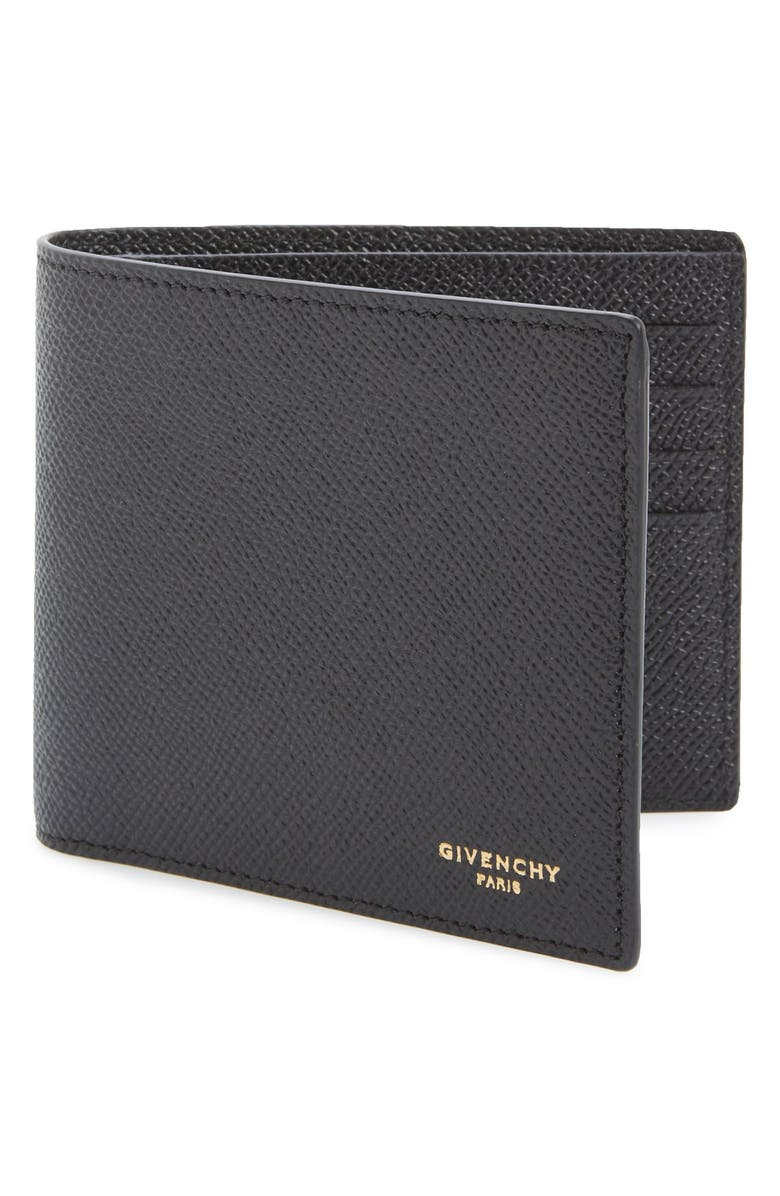 GIVENCHY Calfskin Leather Bifold Wallet, Main, color, BLACK