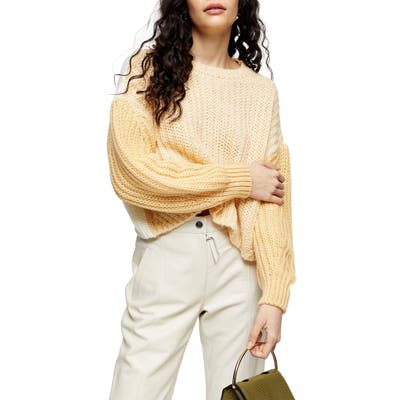 Topshop Colorblock Wool Blend Sweater, Yellow