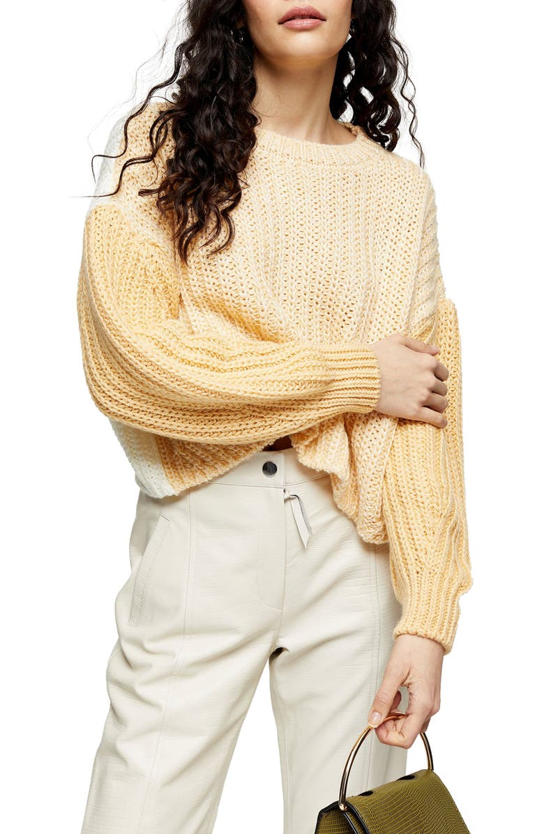 TOPSHOP Colorblock Wool Blend Sweater, Main, color, YELLOW