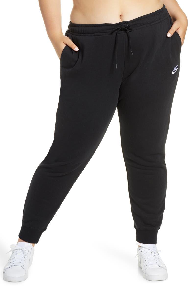 NIKE Sportswear Essential Fleece Pants, Main, color, BLACK/ WHITE