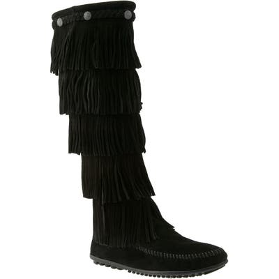 Minnetonka 1659 Five Layer Fringe Boot, Black
