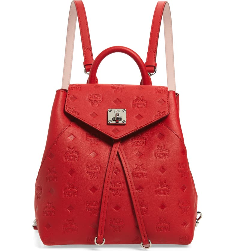 MCM Essential Monogram Leather Small Backpack, Main, color, VIVA RED