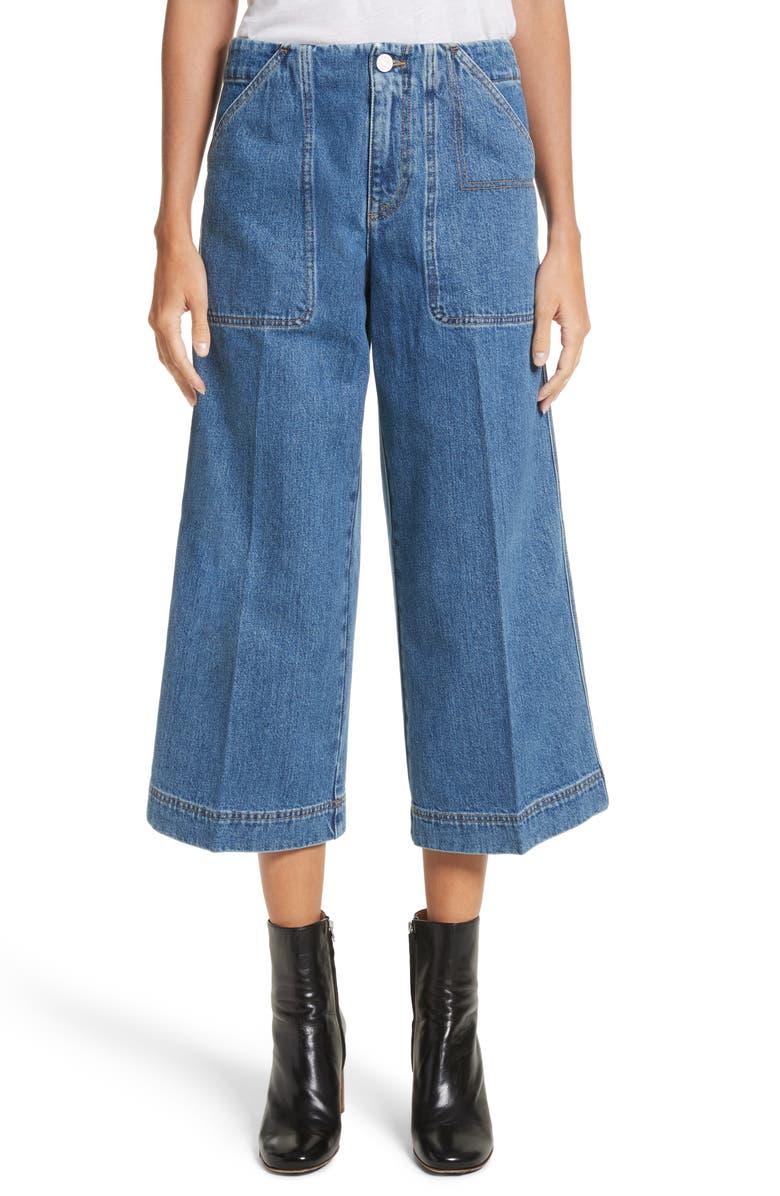 ACNE STUDIOS Texa Wide Leg Crop Jeans, Main, color, 400