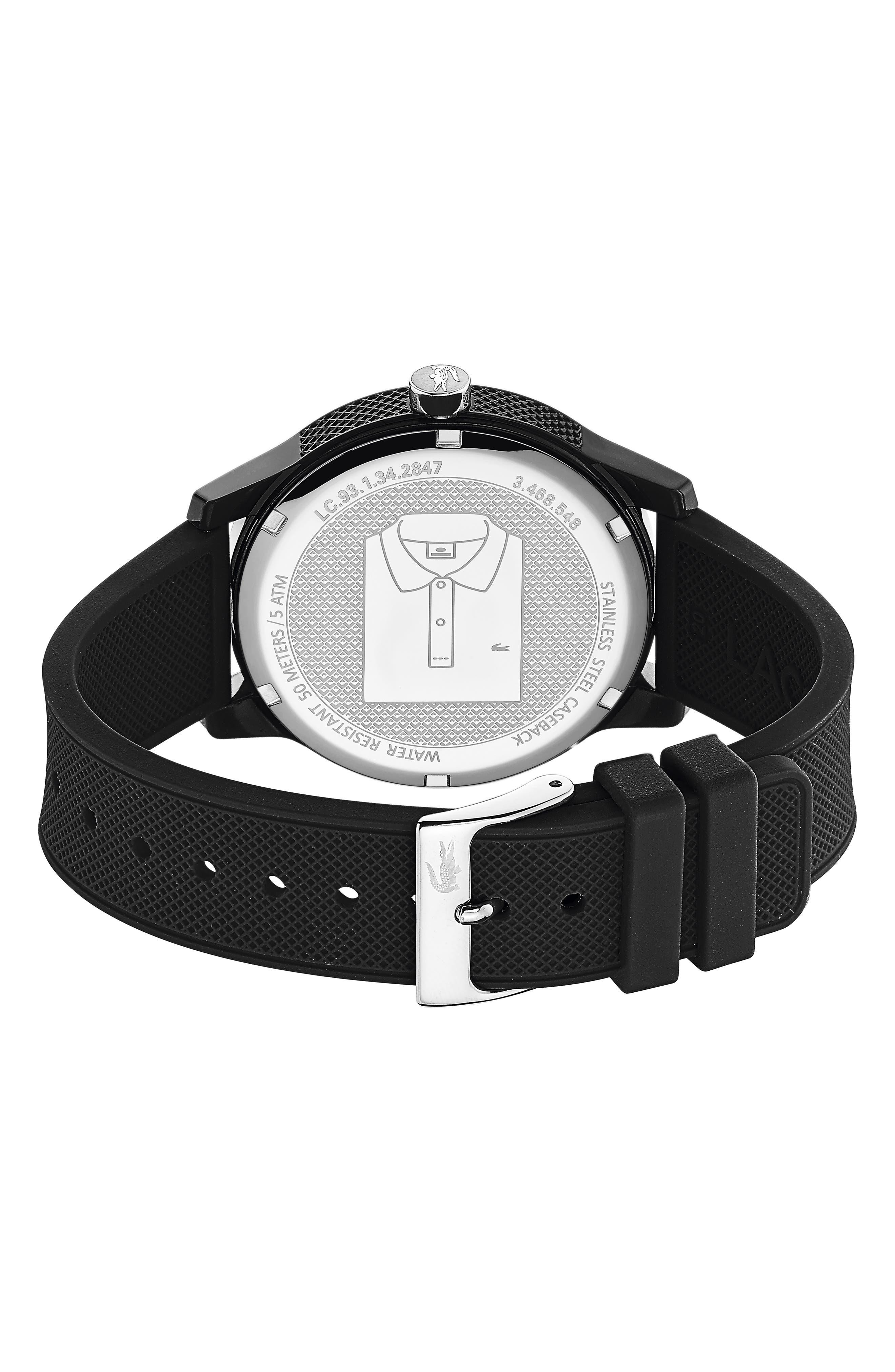 ,                             12.12 Rubber Strap Watch, 42mm,                             Alternate thumbnail 2, color,                             BLACK