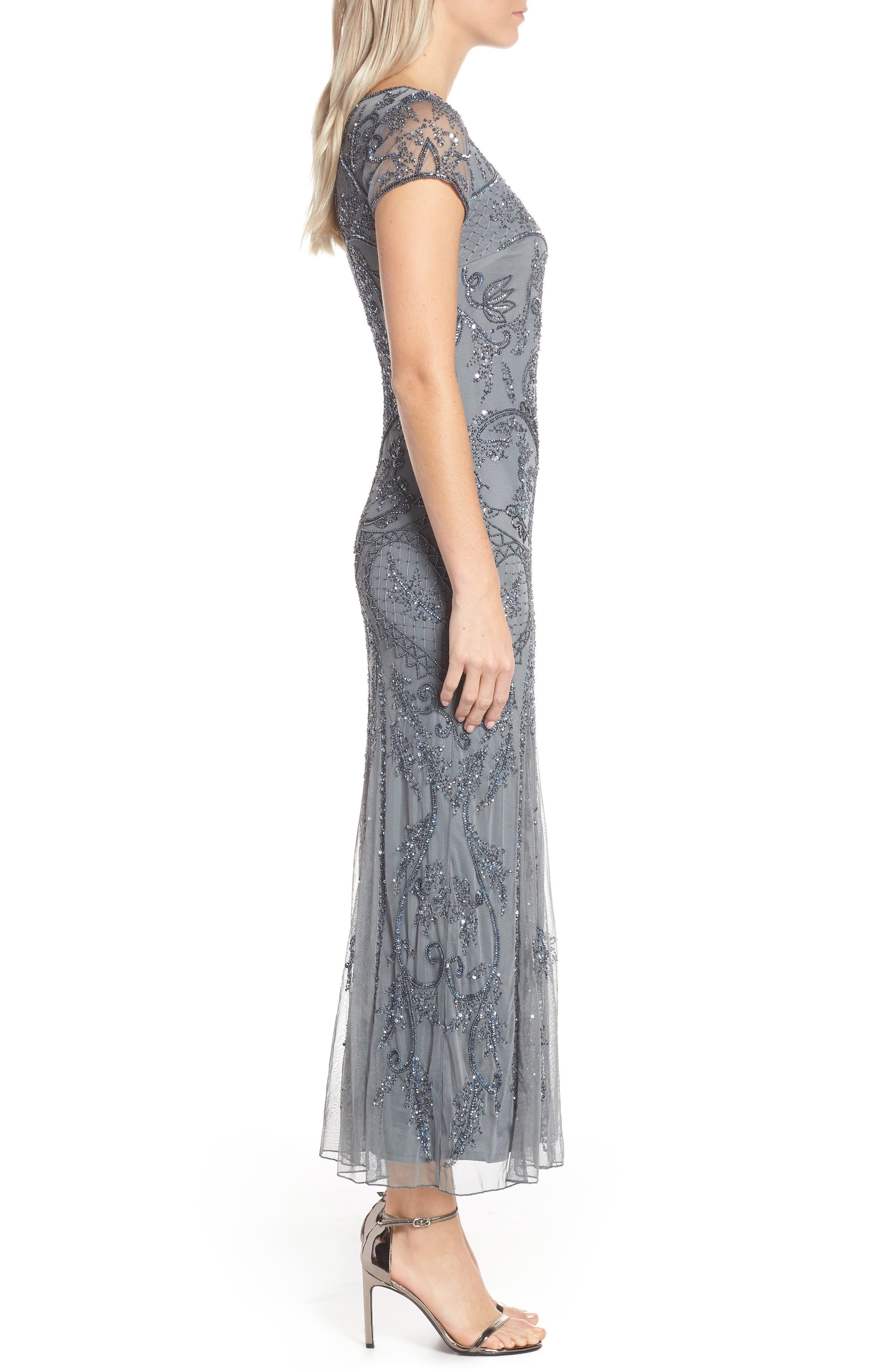 ,                             Embellished Mesh Gown,                             Alternate thumbnail 4, color,                             STEEL