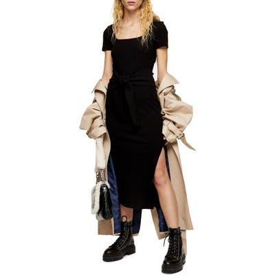 Topshop Rib Knit Tie Waist Dress, US (fits like 0-2) - Black