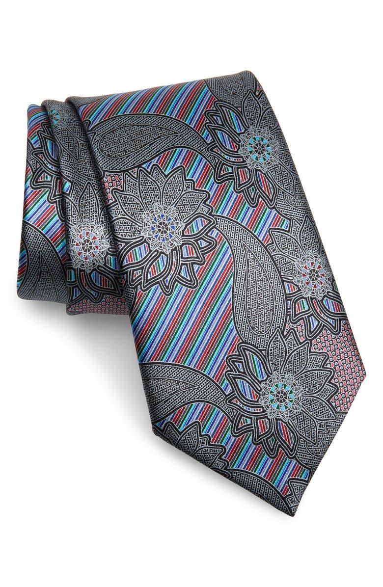 ERMENEGILDO ZEGNA Quindici Paisley Silk Tie, Main, color, BLACK